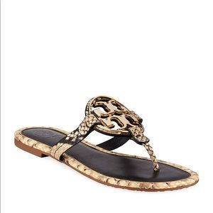 NEW Tory Burch Metal Miller Leather Sandals